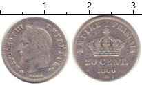 Изображение Монеты Франция 20 сентим 1866 Серебро XF