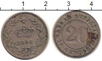 Изображение Монеты Италия 20 сентесим 1894 Медно-никель XF