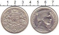 Изображение Монеты Латвия 5 лат 1932 Серебро XF Латвийская девушка.Г