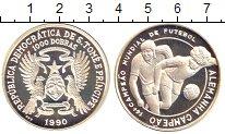 Изображение Монеты Сан-Томе и Принсипи 1.000 добрас 1990 Серебро Proof- Чемпионат  мира  по
