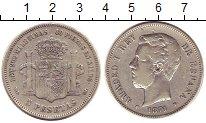 Изображение Монеты Испания 5 песет 1871 Серебро VF Амадео I