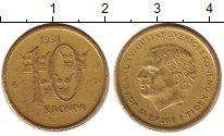Изображение Монеты Швеция 10 крон 1991 Латунь XF Карл XVI