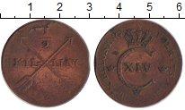 Изображение Монеты Швеция 1/2 скиллинга 1828 Бронза VF Карл XIV