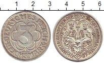 Изображение Монеты Веймарская республика 3 марки 1927 Серебро XF 1000 лет основания Н