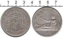 Изображение Монеты Испания 5 песет 1870 Серебро XF-