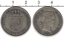 Изображение Монеты Испания 40 сентим 1867 Серебро XF