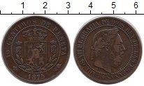 Изображение Монеты Испания 10 сентим 1875 Медь XF-