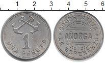 Монета Испания 1 песета Алюминий 1937 XF- фото