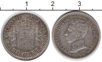 Изображение Монеты Испания 50 сентимо 1904 Серебро XF-