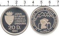 Изображение Монеты Андорра 20 динерс 1991 Серебро Proof-