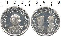 Монета Испания 2000 песет Серебро 1989 Proof-