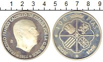 Изображение Монеты Испания 100 песет 1966 Серебро Proof Франциско Франко (Оф