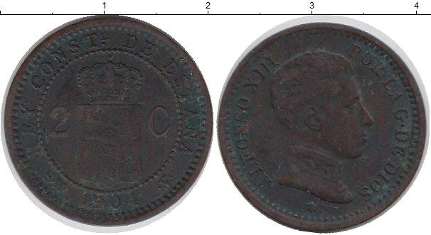 Картинка Монеты Испания 2 сентима Бронза 1904