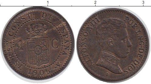 Картинка Монеты Испания 1 сентим Бронза 1906
