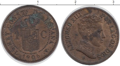 Картинка Монеты Испания 1 сентимо Бронза 1906