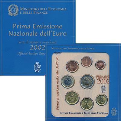 Изображение Подарочные монеты Италия Евронабор 2002 года 2002  UNC В наборе 8 монет ном
