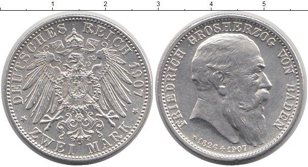 Картинка Монеты Баден 2 марки Серебро 1907
