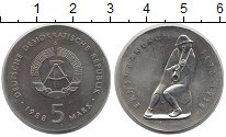 Изображение Монеты ГДР 5 марок 1988 Медно-никель UNC Эрнст  Барлах