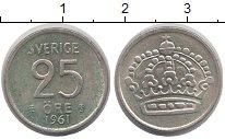 Изображение Монеты Швеция 25 эре 1961 Серебро VF