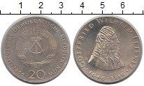 Изображение Монеты ГДР 20 марок 1966 Серебро XF Лейбниц