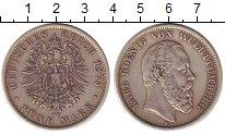 Изображение Монеты Германия Вюртемберг 5 марок 1875 Серебро XF