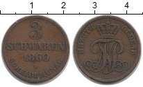 Изображение Монеты Германия Ольденбург 3 шварена 1860 Медь XF-
