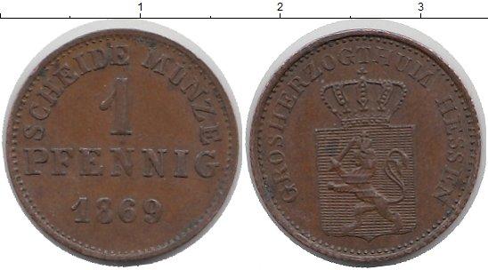 Картинка Монеты Гессен-Дармштадт 1 пфенниг Медь 1869