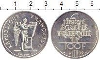 Изображение Монеты Франция 100 франков 1989 Серебро XF+ Права  человека