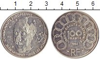 Изображение Монеты Франция 100 франков 1992 Серебро XF+ Жан  Монне