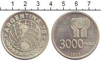 Изображение Монеты Аргентина 3000 песо 1977 Серебро UNC-