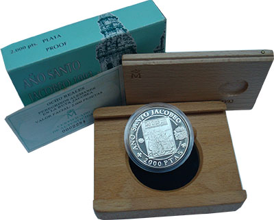 Изображение Подарочные наборы Испания Год Святого Якоба 1993 Серебро Proof Монета номиналом 200