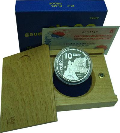 Изображение Подарочные монеты Испания Парк Гуэль 2002 Серебро Proof Монета номиналом 10