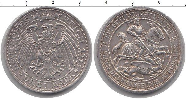 Картинка Монеты Пруссия 3 марки Серебро 1915