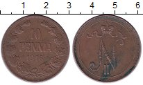 Изображение Монеты 1894 – 1917 Николай II 10 пенни 1916 Медь XF