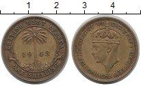 Изображение Монеты Западная Африка 1 шиллинг 1943 Латунь XF-