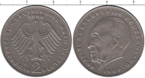 Картинка Монеты ФРГ 2 марки Медно-никель 1969