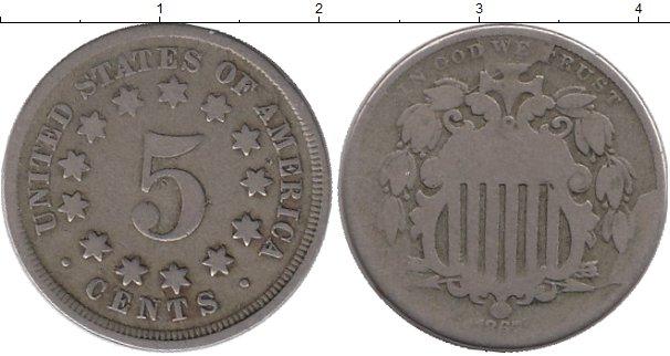 Картинка Монеты США 5 центов Медно-никель 1867
