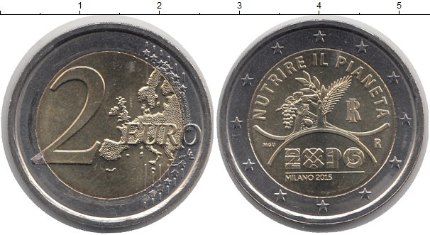 Картинка Монеты Италия 2 евро Биметалл 2015