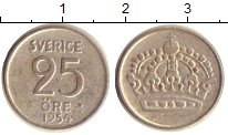 Изображение Монеты Швеция 25 эре 1954 Серебро XF-