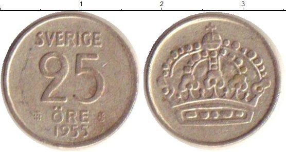 Картинка Монеты Швеция 25 эре Серебро 1955