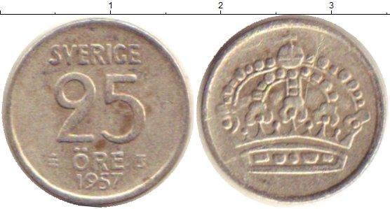 Картинка Монеты Швеция 25 эре Серебро 1957