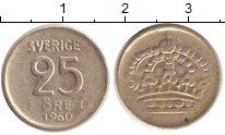 Изображение Монеты Швеция 25 эре 1960 Серебро XF-