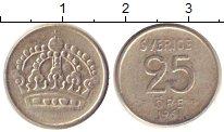 Изображение Монеты Швеция 25 эре 1961 Серебро XF-