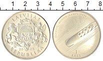 Изображение Монеты Латвия 1 лат 2005 Серебро UNC Олимпиада 2006.  Боб