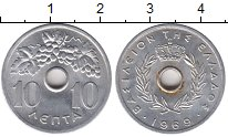 Изображение Монеты Греция 10 лепт 1969 Алюминий XF