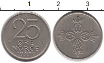 Изображение Монеты Норвегия 25 эре 1976 Медно-никель XF
