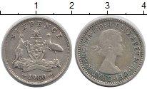 Изображение Монеты Австралия 6 пенсов 1960 Серебро XF- Елизавета II