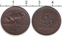 Изображение Монеты ЮАР 2 цента 1971 Бронза XF