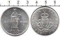 Изображение Монеты Сан-Марино 1000 лир 1987 Серебро UNC