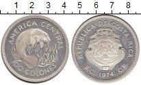 Изображение Монеты Коста-Рика 100 колон 1974 Серебро Proof-